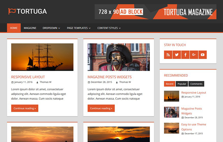 Free WordPress Themes 2016 - tortuga