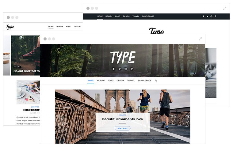 Type plus WordPress Theme - Header Styles