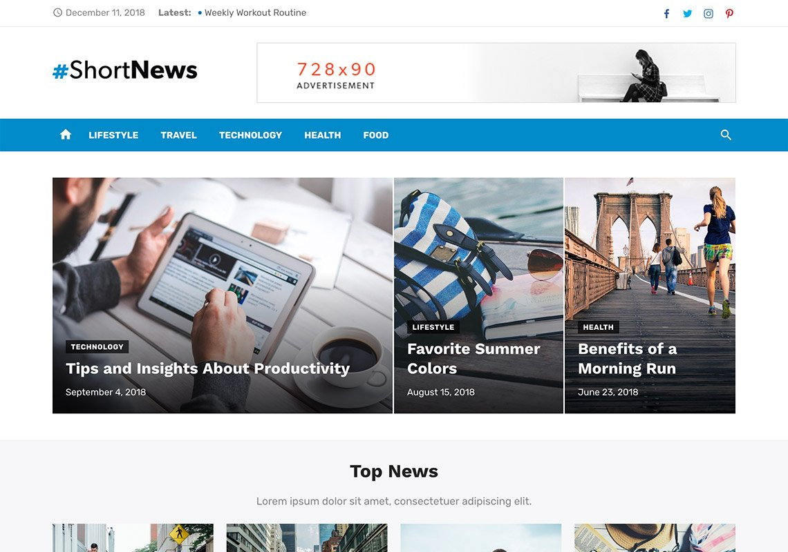 Short News - Free WordPress Themes